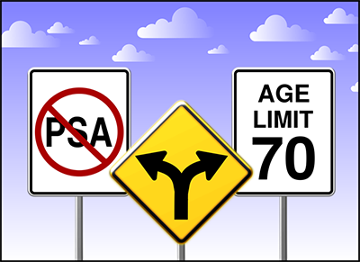 A graphic with three traffic signs depicts the variation in current guidelines with respect to PSA screening. From left to right, PSA with the slash through it, a merge sign with arrows pointing at each sign, and a speed limit sign that has Age Limit 70